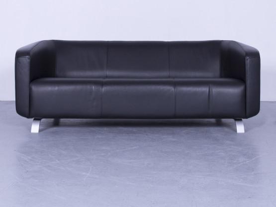 Rolf Benz Designer Leder Sofa Schwarz Zweisitzer Couch Echtleder #5615