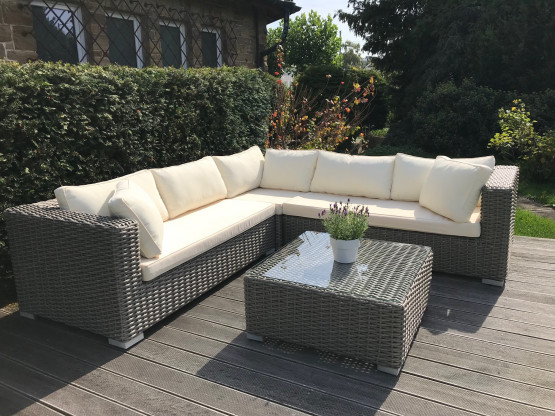 Lounge Gartenmobel Rattan Grau Creme Sehr Guter Zustand