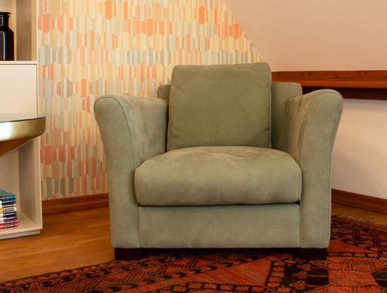 """Sessel """"Diner"""" von BAXTER - Nabuck Leder Farbe Sage"""