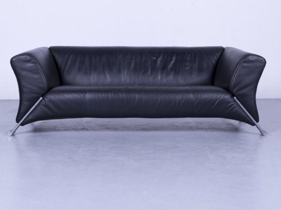 Rolf Benz 322 Designer Leder Sofa Schwarz Dreisitzer Couch Echtleder ...