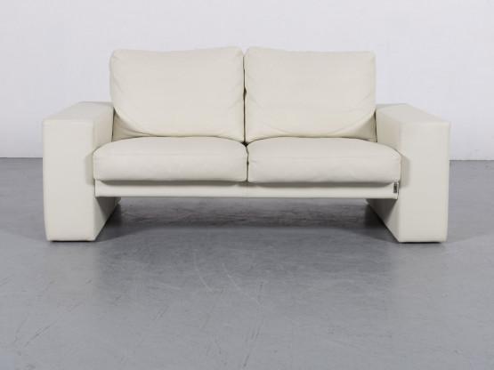 Erpo Leder Sofa Creme Weiß Zweisitzer Couch Echtleder #6132