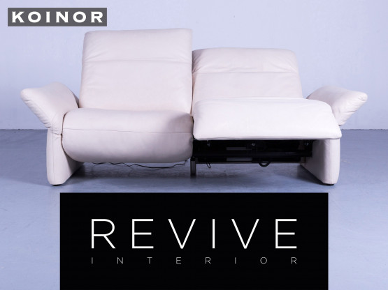 Koinor Elena Leder Sofa Creme Beige Zweisitzer Couch Funktion Echtleder #4558