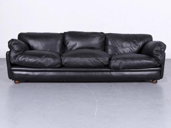 Poltrona Frau Designer Leder Sofa Schwarz Echtleder Dreisitzer Couch #6612