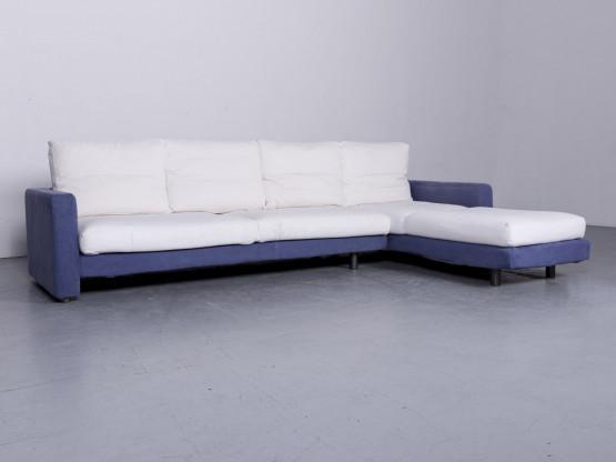 Dema Designer Stoff Sofa Blau Weiß Ecksofa Couch #6572