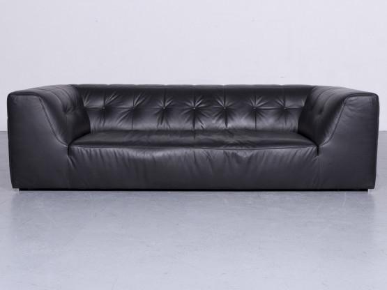 ligne roset Malhoun Designer Leder Sofa Schwarz Echtleder Couch #6416