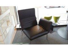 Brühl Sessel RORO Medium Leder schwarz, Gestell verchromt
