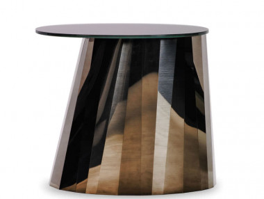 Pli Side Table Low von Classicon - braun, Pyrit bronze
