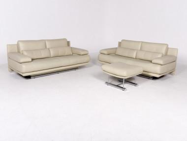 Rolf Benz 325 Designer Leder Sofa Beige Echtleder Dreisitzer Couch